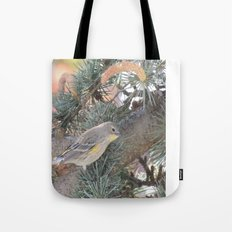 Audubon's Warbler on a Spruce Branch Tote Bag