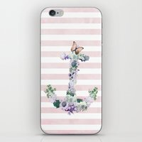 FLORAL ANCHOR IN PINK iPhone & iPod Skin