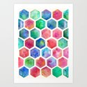 Hand Painted Watercolor Honeycomb Pattern Art Print