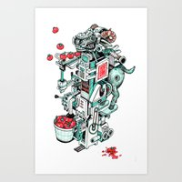 tomato shooting goat machine! Art Print
