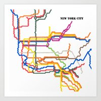 NYC Subway System (Complete) with Text Art Print