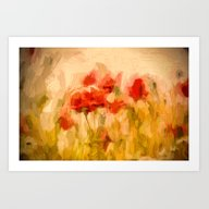 Fiery Poppies In A Golde… Art Print