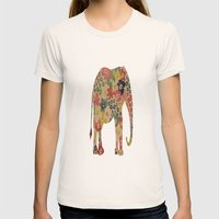 Flower Power Elephant Womens Fitted Tee Natural SMALL