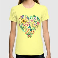 Floral Heart Womens Fitted Tee Lemon SMALL