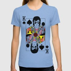 Elvis Presley Playing Card illustration  Womens Fitted Tee Tri-Blue SMALL