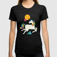 To Be A Unicorn Womens Fitted Tee Tri-Black SMALL