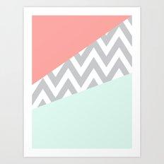 Original Mint & Coral Chevron Block Art Print