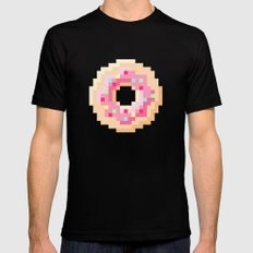 Pixel Donut Mens Fitted Tee SMALL Black