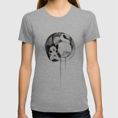 Skull Cat Inktober Womens Fitted Tee Athletic Grey SMALL