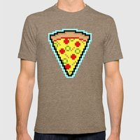 Pixel Pizza Mens Fitted Tee Tri-Coffee SMALL