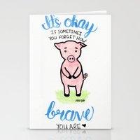 Brave Piggy Stationery Cards