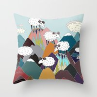 Clouds And Sheep Throw Pillow