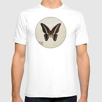 Blue Spotted Butterfly Mens Fitted Tee White SMALL