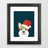 Corgi Christmas  Santa C… Framed Art Print