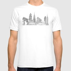 NYC Landmarks by the Downtown Doodler White Mens Fitted Tee SMALL