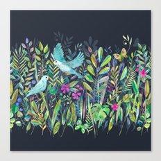 Little Garden Birds in Watercolor Canvas Print