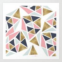 Modern geometrical pink navy blue gold triangles pattern Art Print