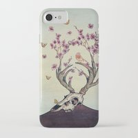 animal skull iPhone & iPod Cases featuring Animal Skull and Butterflies by Paula Belle Flores