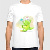 Slippery gator Mens Fitted Tee White SMALL