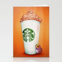 Little Owl loves his Pumpkin Spice Latte Stationery Cards