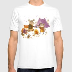 Critters: Fall Camping SMALL Mens Fitted Tee White