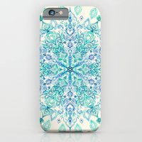 iPhone Cases featuring Peppermint Snowflake on Cream by micklyn