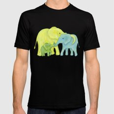Elephant Family of Three SMALL Mens Fitted Tee Black