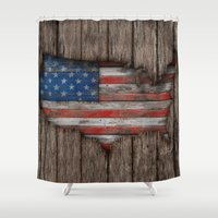 American Wood Flag Shower Curtain
