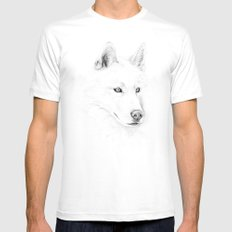 Saber :: A Siberian Husky SMALL Mens Fitted Tee White