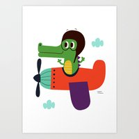 Crocodile Pilot Art Print
