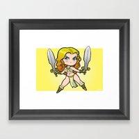 Swordswoman Mini-Print Framed Art Print