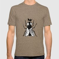 Fly Linocut Mens Fitted Tee Tri-Coffee SMALL