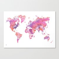 Watercolour World Map (orange/pink/purple) Canvas Print