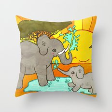Puddle Stomping Throw Pillow