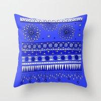 Yzor Pattern 007-2 Blue Throw Pillow