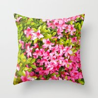 Colorful garden flowers, pink azalea. Floral photography. Throw Pillow