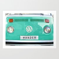 Wander wolkswagen. Summer dreams. Green Art Print