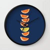 Citrus Tip - indigo & tangerine Wall Clock