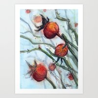 Rose Hips Abstract Watercolor Art Print