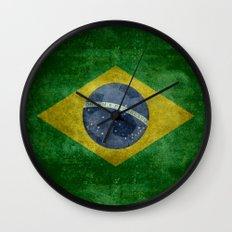 Vintage Brazilian National flag featuring a football ( soccer ball ) Wall Clock