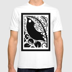 Doodlebird Print White Mens Fitted Tee SMALL