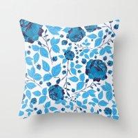 Blown Away ( Watercolor Abstract artwork, Feminine, Elegant, Black, Blue ) Throw Pillow