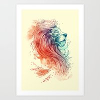 lion Art Prints featuring Sea Lion by Steven Toang