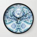 Lily, Leaf & Triangle Pattern – blues Wall Clock