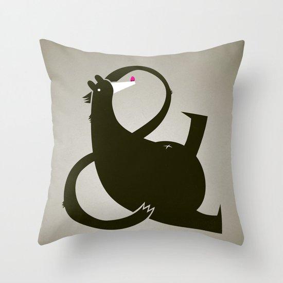 amp-bear-sand poster Throw Pillow
