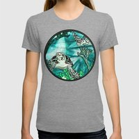 Myrtle Turtle. Womens Fitted Tee Tri-Grey SMALL