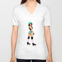 Roller Girl Pin Up Unisex V-Neck