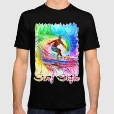 Surf Style Mens Fitted Tee Black SMALL