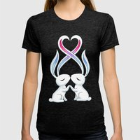 Bunny Kiss Womens Fitted Tee Tri-Black SMALL