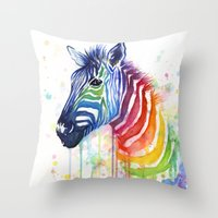 Zebra Watercolor Rainbow Painting | Ode to Fruit Stripes Throw Pillow
